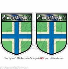"GLOUCESTERSHIRE Britain ENGLAND Shield Vinyl Decals, Stickers 3"" (75mm) x2"
