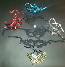 Fancy dress Venetian eye mask job lot bundle x 7 3D & lace black leopard silver