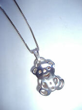 "NEW TOUS TEDDY BEAR NECKLACE IN 92.5 STERLING SILVER and 8 3/4"" DROP"