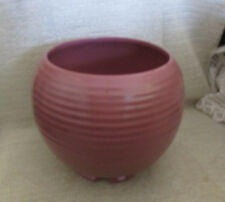 "FRANKOMA.. 7"" X 8"" DIA. DUSTY ROSE PINK RINGED PLANER JARDINIERE VASE #70-A"