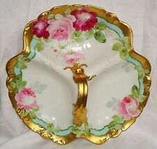 MINT ANTIQUE AHRENFELDT LIMOGES  3  PARTS SERVING CENTER DISH ROSES HANDPAINTED