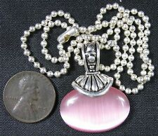 Modern Fancy Silvertone Necklace With Pink Moon Stone Pendant 15""