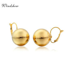 Fashion Womens 18K Yellow Gold Filled Polished Round Ball Leverback Earrings