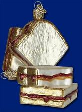PEANUT BUTTER AND JELLY OLD WORLD CHRISTMAS GLASS SANDWICH BREAD ORNAMENT 32157