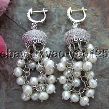 S100614 4-5MM White Round Pearl Earrings Cz Fitting