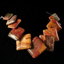 g2269 Multi-color picasso jasper square disc pendant beads set 10mm to 20mm