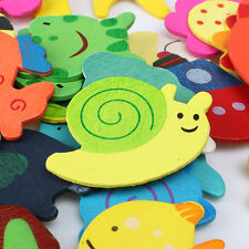 New Children Colorful Wooden Various Shapes Cartoon Refrigerator Magnets 48pcs