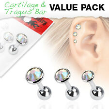 Value Pack of Multi-Coloured Assorted Cartilage / Tragus Bars with Set Gem Tops