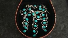 NEW Natural Turquoise and .925 Sterling Silver Y-shape Necklace and Earrings Set