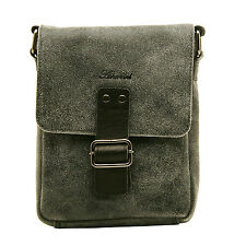 ASHWOOD -  SMALL BLACK MESSENGER BAG IN COW SNUFFED DISTRESSED LEATHER