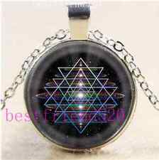 Universe Sacred Geometry Cabochon Glass Tibet Silver Chain Pendant Necklace