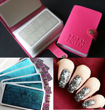 Born Pretty Rectangle Nail Art Stamping Plates with Stamp Plate Holder Manicure