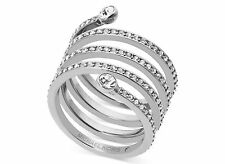 MICHAEL KORS MKJ4723 Silver Tone Pave Crystal Spiral Coil Ring SIZE 7 w MK Pouch