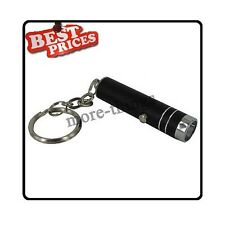 black Mini 1 LED Handheld Bright Flashlight Lamp Torch with Keychain +Batte