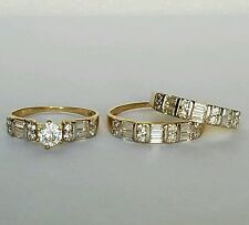 1 C 2 tone 10k White Gold Trio three piece Engagement Wedding Ring Band Set 6.5