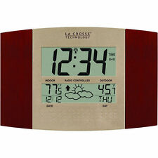 La Crosse Atomic Automatic Setting Cherry Wall Clock Remote Temp F/C Forecast