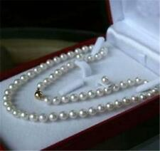 Genuine 7-8MM White Cultured Pearl Necklace&earring  clasp X-04