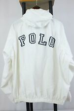 Vtg Polo Sport Sz L Big Spell Out White Windbreaker Hodded Sailing Jacket 90s