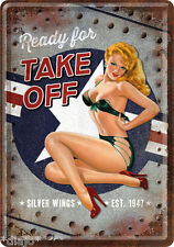 Nostalgic type tôle carte postale ready for take off sexy lady pin up silver wings