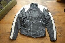 Vtg Moto Cuir Paris Black & White Leather Biker Motorcycle Racing Jacket 40""