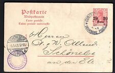 GERMANY 1908 OFFICES IN OTTOMAN EMPIRE CONSTANTINOPLE ON 20 PARAS POSTAL CARD TO