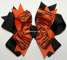 Tigers Orange Black Funky Hair Bow Girls Sport Cheer Ponytail Holder Accessories