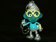 handbag charm ~ Key ring BRAINY SMURF   hand painted  crystal set