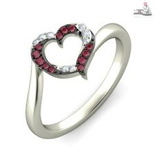 0.40CT Certified 100% DIAMOND Genuine Ruby gemstone 14kt white gold ring Gift