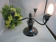 Vtg art deco hammered silverplate 3 arm candelabra candlestick