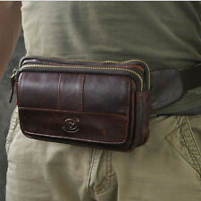 Men Oil Wax Genuine Leather fashion Cell Phone Fanny Pack Waist Purse Chest Bag