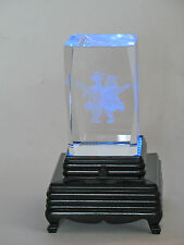3D Laser Etched Prism Pooh and Tigger Desktop Paperweight Souvenir w/Light Stand