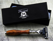Men's Shaving Razor In Pure Rose Wood Handle With Gillette Mach 3 Razor Head