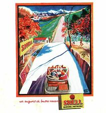 PUBBLICITA' SHELL BENZINA CARBURANTE AUTO VACANZE MONTAGNA COLLINA CAMPAGNA 1929