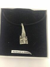 Chesterfield Spire PP-G69  Motif Pewter  PENDENT ON A  BLACK CORD  Necklace