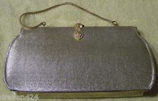 WOMENS VINTAGE METALLIC GOLD EVENING CLUTCH BAG WITH CHAIN HANDLE