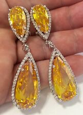 Amazing  HUGE long Citrine  and  White Topaz Omega back earrings  925 silver