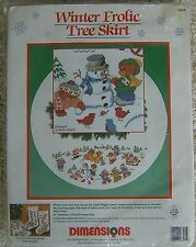 Vintage Dimensions Christmas Tree Skirt Winter Frolic Cross Stitch Rigg