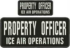 property officer ice air operations embroidery patch 4x10 and 2x5 hook on back
