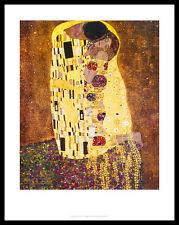 Gustav Klimt The Kiss Poster Bild Kunstdruck mit Alu Rahmen in schwarz 36x28cm