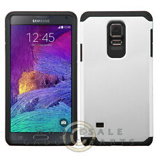 Samsung Galaxy Note 4 Advanced Armor Case-Silver Black Shell Protector Guard