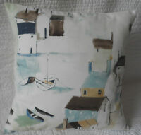 "16"" Cushion Cover Duck Egg Blue Shabby Chic Style Seaside Harbour Print New 40cm"