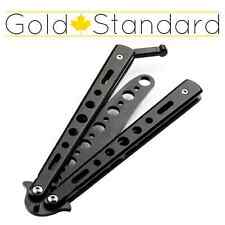 BLACK Quality Metal Practice Knife Balisong Butterfly Tactical Combat Trainer