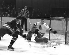 GLENN HALL Chicago Blackhawks Photo in action v Rangers HOF #6 (c)