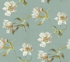 Wallpaper Designer Latge Tulip Toss Green Cream Pink on Pale Blue Faux Crackle