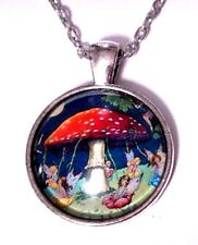 FAIRIES DANCING WITH MUSHROOM MAYPOLE pendant Beltane forest fairy necklace E1