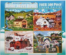 CEACO® 4 Pack 500pc ROGER NANNINI • HOME SWEET HOME • PUZZLES Jig Saw USA MADE
