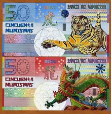 SET, Kamberra,  50 + 50 Numismas, China Lunar Year 2010;2012 UNC   Tiger, Dragon