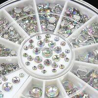 4 Size 300pcs 3D Nail Art Crystal Pearl Glitter Tips Phone Decoration DIY WST
