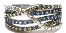 GREAT EFFY BH 14K WHITE GOLD SAPPHIRE BROWN & WHITE DIAMOND COCKTAIL RING BAND