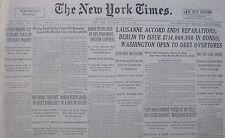 7-1932 July 9 LAUSANNE ACCORD PROHIBITION BORAH - MATTERN GRIFFIN FLIERS CRASH